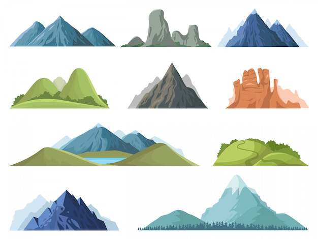 Montañas rocosas. paisaje al aire libre de las cimas de las montañas, picos de invierno, cima de una colina con árboles, conjunto de ilustración de paisaje de valle de montaña de senderismo roca de rango, cima de ambiente rocoso de montaña