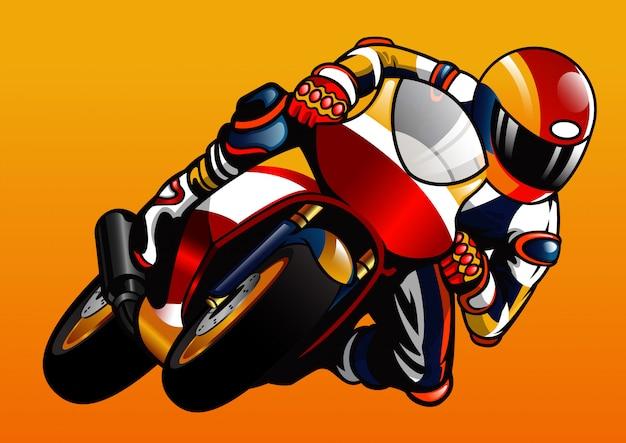 Montando la moto deportiva
