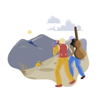 Montañismo ocio ilustración plana