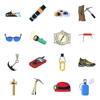 Montañismo y símbolo de pico. establecer alpinismo y símbolo de stock de campamento.