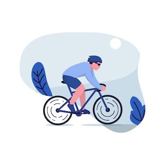 Montar bicicleta ilustración plana