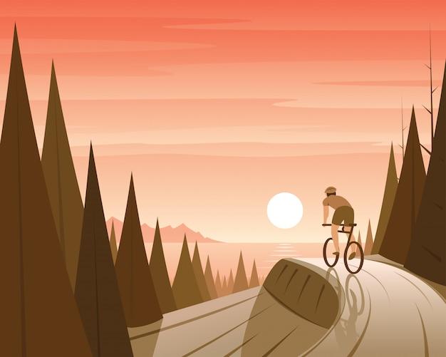 Montar en bicicleta de montaña en la escena del bosque y la costa
