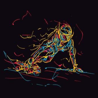 Montar monopatín colorido abstracto