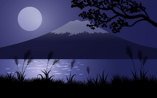 Monte fuji de noche con luna llena