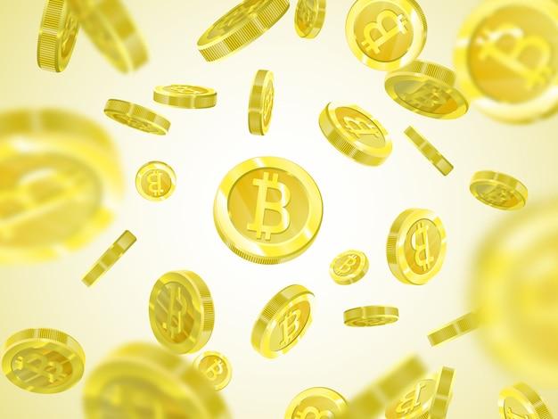 Montón de bitcoins amarillos