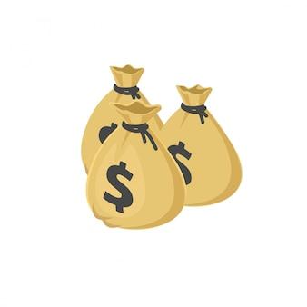 Un montón de bolsas de dinero en dólares o sacos de dibujos animados ilustración isométrica 3d