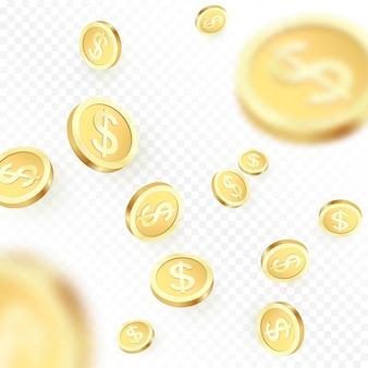 Montón cayendo monedas de oro aisladas sobre fondo transparente