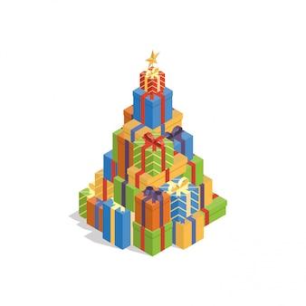 Montón de coloridas cajas de regalo en forma de árbol de navidad