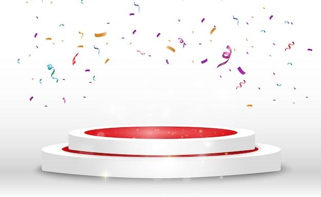 Un montón de coloridos pequeños confeti y cintas sobre fondo transparente. confeti brillante colorido aislado en el podio.