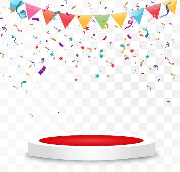 Un montón de coloridos pequeños confeti y cintas sobre fondo transparente. evento festivo y fiesta. fondo multicolor confeti brillante colorido aislado en el podio.