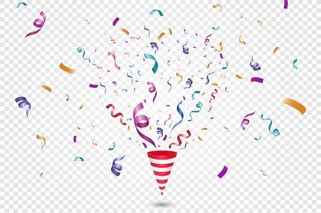 Un montón de coloridos pequeños confeti y cintas sobre fondo transparente. evento festivo y fiesta. fondo multicolor confeti brillante colorido aislado sobre fondo transparente