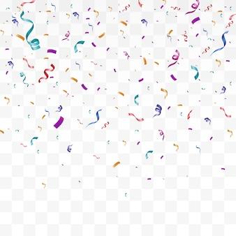 Un montón de coloridos pequeños confeti y cintas sobre fondo transparente.