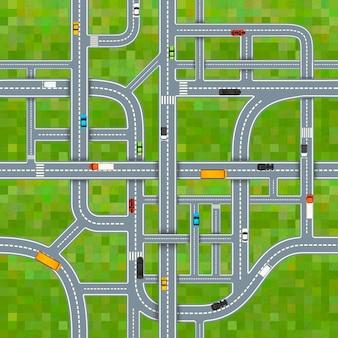 Un montón de cruces de carreteras diferentes sobre fondo de hierba con coches, patrón transparente de vista superior