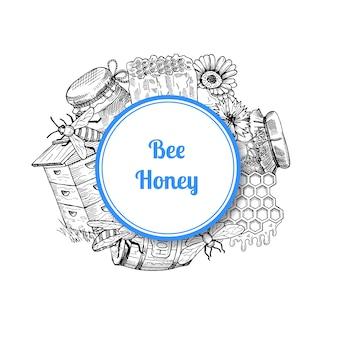Montón de elementos de miel dibujados a mano reunidos bajo círculo con lugar para texto y sombra