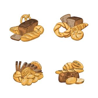 Montón de elementos de panadería dibujados a mano