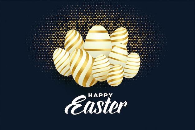 Montón de fondo dorado de huevos de pascua