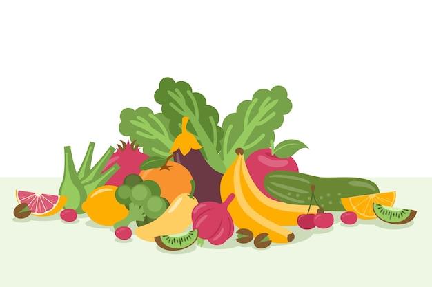 Montón de fondo de frutas y verduras