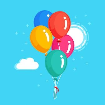 Montón de globo de helio, bolas de aire volando en el cielo. concepto de feliz cumpleaños. diseño de dibujos animados vectoriales