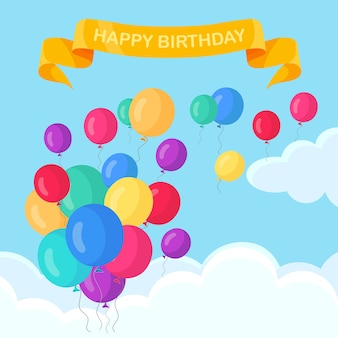 Montón de globo de helio, bolas de aire volando en el cielo. feliz cumpleaños, concepto de vacaciones. decoración de fiesta.