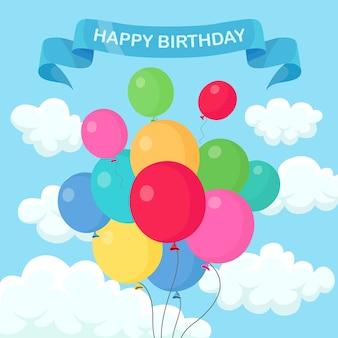 Montón de globo de helio, bolas de aire volando en el cielo. feliz cumpleaños, vacaciones. decoración de fiesta