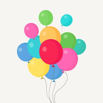 Montón de globo de helio, bolas de aire volando en el cielo.