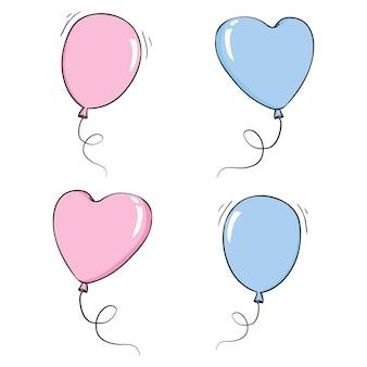 Montón de globos en estilo plano de dibujos animados aislado sobre fondo blanco. ilustración vectorial