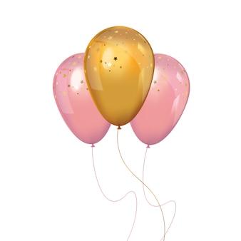 Un montón de globos realistas de color rosa y oro.