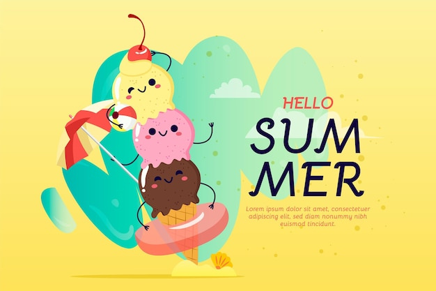 Montón de helado feliz dibujado a mano fondo de verano