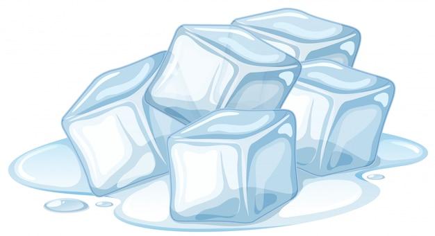 Montón de hielo derritiéndose en blanco