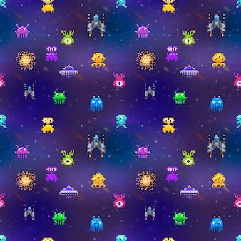 Un montón de lindos invasores del espacio en estilo pixel art en el fondo del espacio profundo de patrones sin fisuras