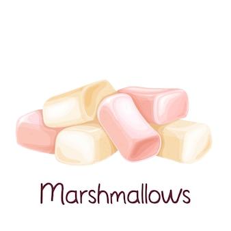 Montón de malvavisco blanco y rosa, ilustración de cobertura dulce.