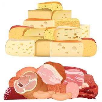Montones de diferentes quesos delicados realistas y carne apetitosa