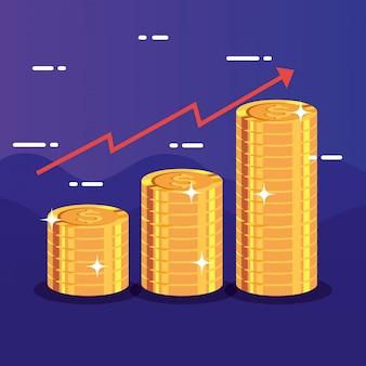 Montones de monedas con flecha arriba infografía