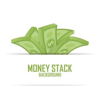 Montones de pila de dinero, dólar en efectivo en blanco, ilustración vectorial.