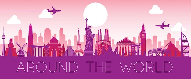 Monumento mundialmente famoso silueta rosa