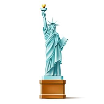 Monumento realista de la estatua de la libertad en américa, famoso monumento