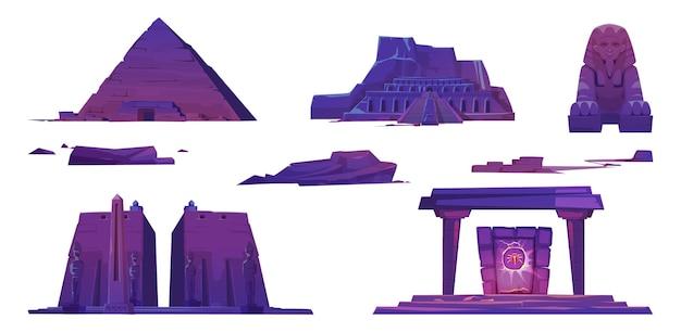 Monumentos del antiguo egipto, pirámides, templos de faraones, esfinge y portal místico con signo de escarabajo.