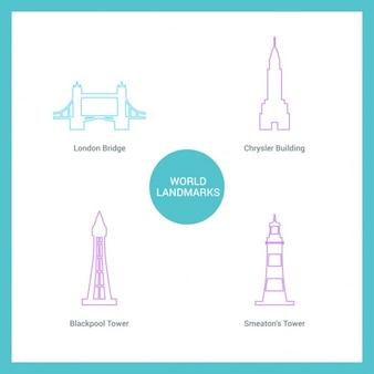 Monumentos diferentes dibujados con líneas