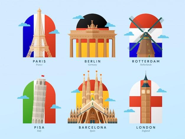 Monumentos de europa con la ilustración de la bandera del país