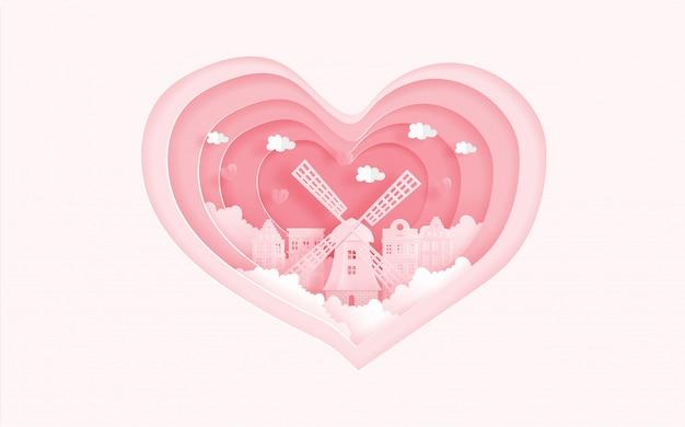 Los monumentos famosos de amsterdam, holanda en concepto del amor con forma del corazón. tarjeta de san valentin