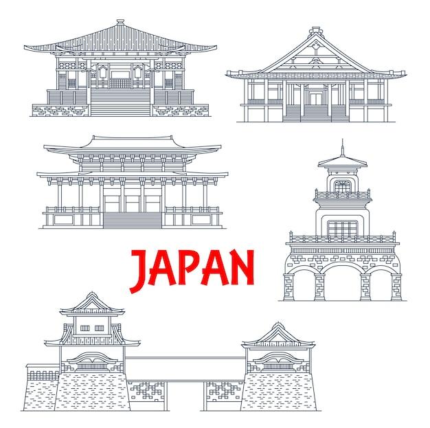 Monumentos de japón, templos, puertas de torre y santuarios, iconos de la arquitectura japonesa.