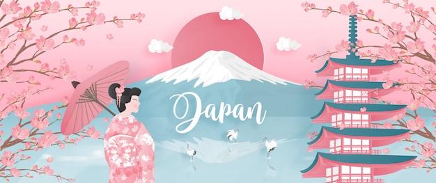 Monumentos mundialmente famosos de japón con la montaña fuji y la pagoda.