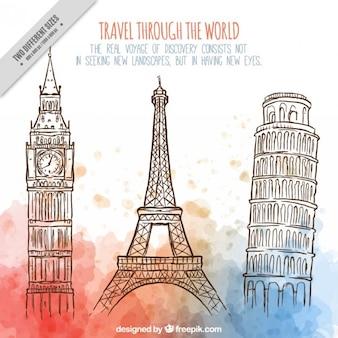 Monumentos del mundo dibujados a mano