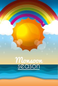 Monzón temporada sol día nubes arco iris playa océano