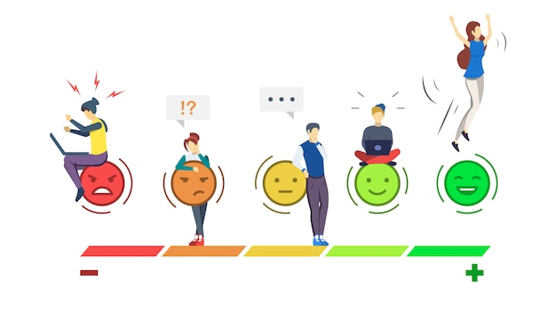Mood rating scale semi rgb color illustration. emociones experiencia de usuario.