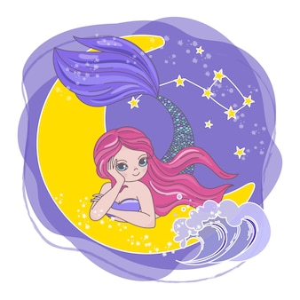 Moon mermaid space cartoon princess