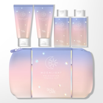 Moonlight holographic theme gradient pastel travel kit bag set con tubo y botella
