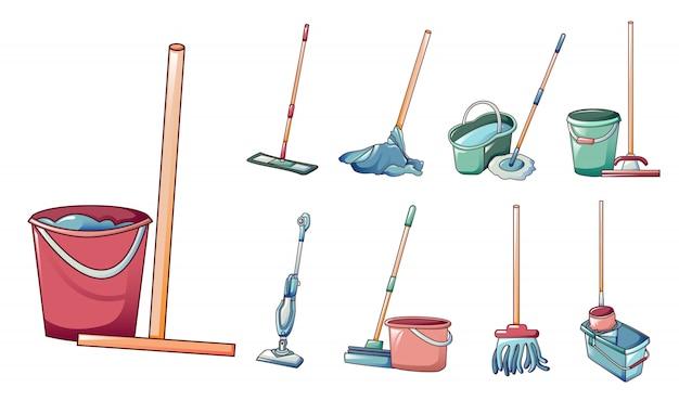 Mop iconos conjunto, estilo de dibujos animados