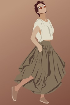 Morena glamorosa de pelo corto vestida con falda larga marrón, zapatos, gafas de sol y camiseta blanca. mostrando su estilo
