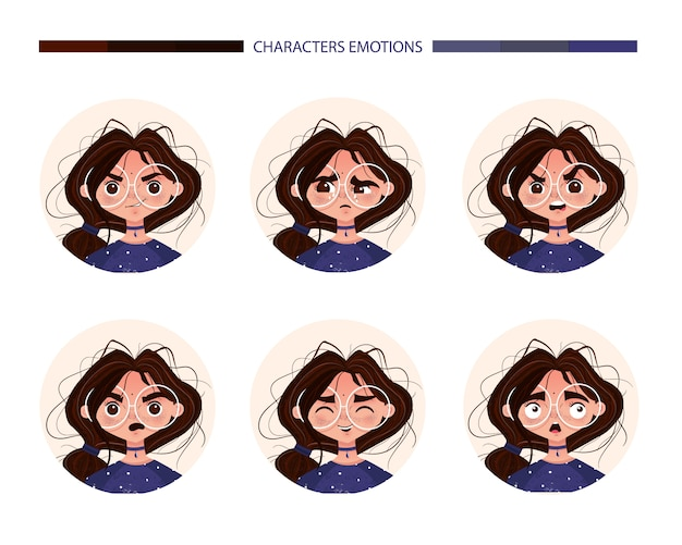 Morena linda de la muchacha del avatar de las emociones del carácter en vidrios. emoji con diferentes expresiones faciales de mujer, alegría, llanto, ira, sorpresa, risa, miedo. ilustración vectorial en estilo de dibujos animados